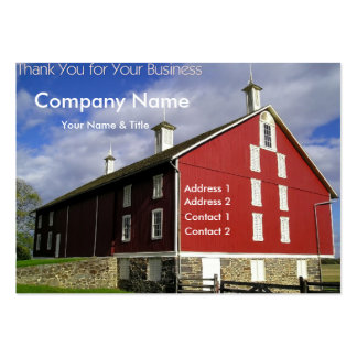 Carte de visite rouge de grange - Merci