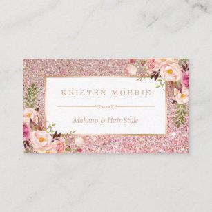 Carte De Visite Salon Coiffure Rose Floral Maquilleur