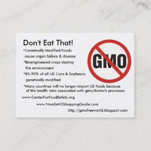 Carte De Visite Sans GMO Ne Mangez Pas Cela Genetically