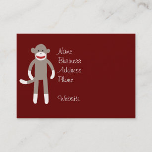 Carte De Visite Singe Mignon Chaussette Sur Le Rouge Avec Des
