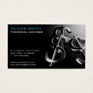 Carte de visite sur fond noir finance et dollar