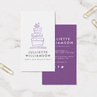 Carte de visite tiré par la main d'icône de gâteau
