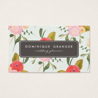 Carte de visite tiré par la main vintage de fleurs