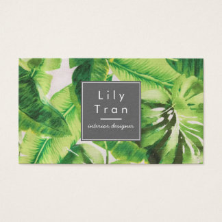 Carte de visite tropical de texture de tissu de