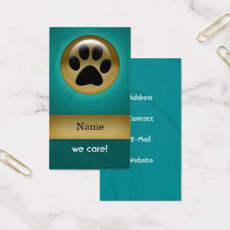 carte de visite turquoise de soin des animaux