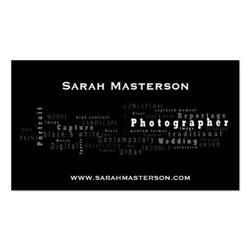 Carte de visite typographique noir de photographe