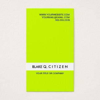 Carte de visite vert au néon bruyant moderne