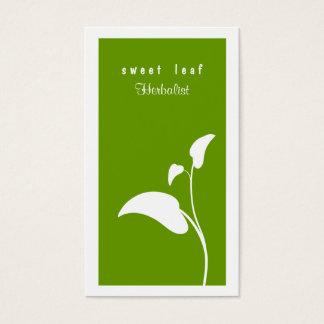 Carte de visite vert de herboriste de feuille