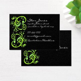 Carte de visite vert et noir élégant de remous