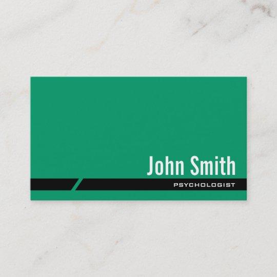 Carte De Visite Vert Simple Psychologue