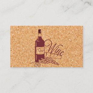 Carte De Visite Vin Bouteille Liege Et