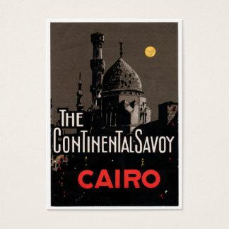Carte de visite vintage d'affiche d'hôtel du Caire