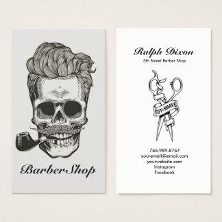 Carte de visite vintage de ciseaux de crâne de