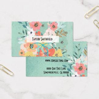carte de visite vintage de papier peint de fleurs