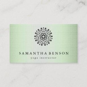 Carte De Visite Yoga Elegant Logo Fleur Lotus Noir Et