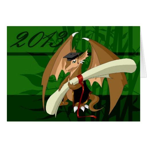 Carte de voeux 2013 de dragon d'obtention du diplô