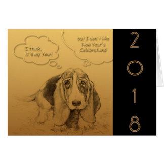 Carte de voeux 2018 humoristique d'année de chien
