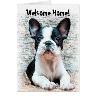 Carte de voeux à la maison bienvenue de bouledogue