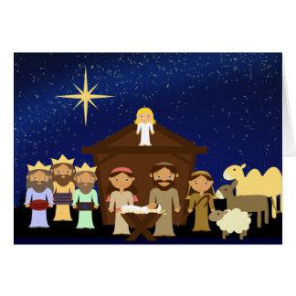 Carte de voeux adorable de Noël de scène de