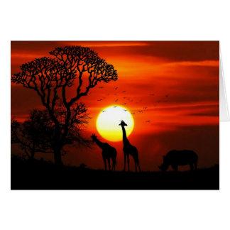 Carte de voeux africaine de coucher du soleil