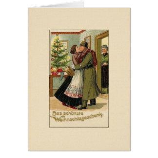 Carte de voeux allemande vintage de Noël de soldat