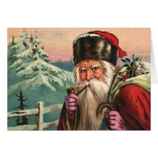 Carte de voeux alpine de Père Noël
