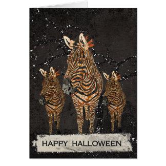 Carte de voeux ambre de Halloween de zèbres