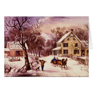 Carte de voeux américaine d'hiver de ferme