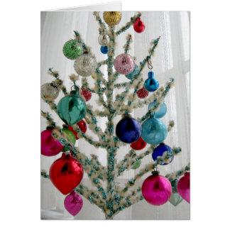 Carte de voeux antique d'arbre de Noël,