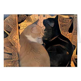 Carte de voeux avec des chats, conception grecque,