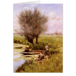 Carte de voeux avec la peinture d'Emile Claus
