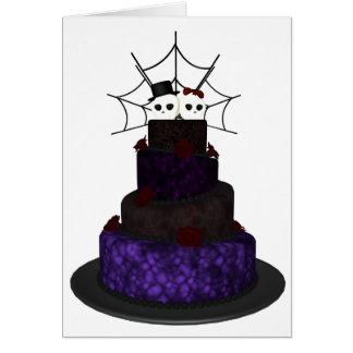 Carte de voeux avec un gâteau de mariage gothique