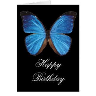 Carte de voeux bleue d'anniversaire de papillon