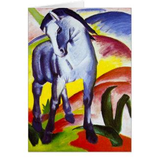 Carte de voeux bleue de cheval de Franz Marc