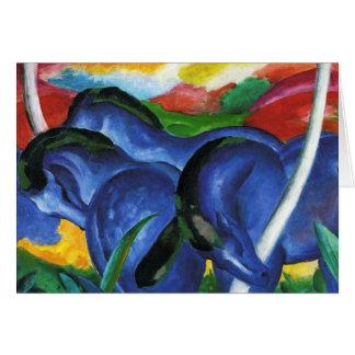 Carte de voeux bleue de chevaux de Franz Marc