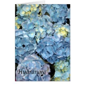 Carte de voeux bleue de fleur d'hortensia