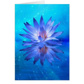 Carte de voeux bleue de nénuphar