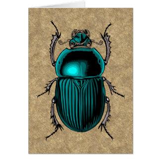 Carte de voeux bleue de scarabée
