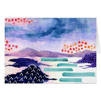 Carte de voeux colorée pour aquarelle de paysage