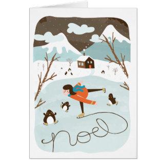 Carte de voeux congelée de vacances de lac