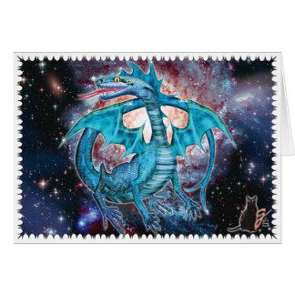 Carte de voeux cosmique de dragon de turquoise