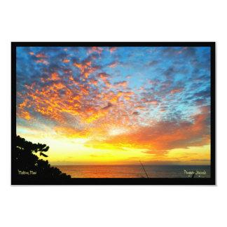 Carte de voeux, coucher du soleil, cabine de carton d'invitation 8,89 cm x 12,70 cm