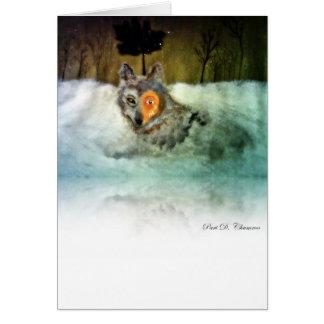 Carte de voeux courageuse de loup