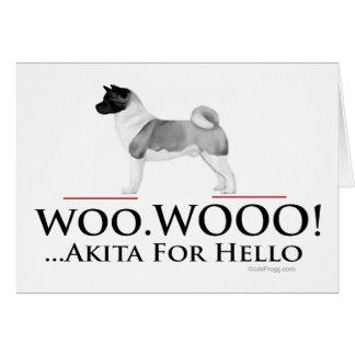 Carte de voeux d'Akita bonjour