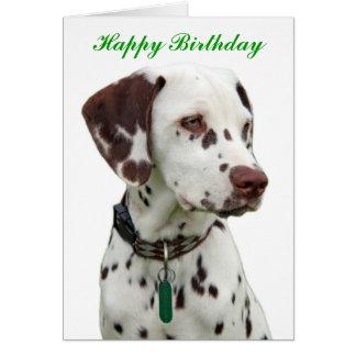 Carte de voeux dalmatienne de joyeux anniversaire
