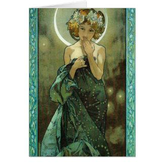 Carte de voeux d'Alphonse Mucha Clair De Lune