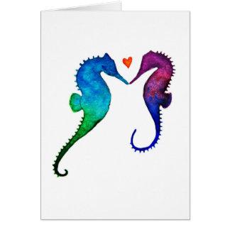 Carte de voeux d'amour d'hippocampe