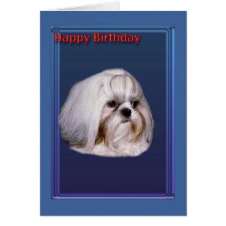 Carte de voeux d'anniversaire avec Shih Tzu
