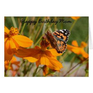 Carte de voeux d'anniversaire de fleur de papillon