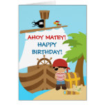 Carte de voeux d'anniversaire de garçon de bateau